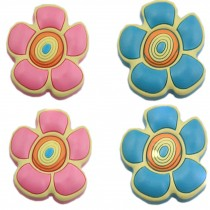 PANDA SUPERSTORE Set of 4 Lovely BLUE&PINK Flower Protective PVC Kids Drawer Handles/Pulls/1.65''