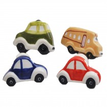 PANDA SUPERSTORE Set of 4 Lovely Car Ceramic Kids Room Decors Drawer Handles Cabinet Pulls/Knobs