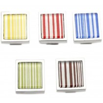 PANDA SUPERSTORE Set of 5 Colorful Stripe Square Zinc Alloy Drawer Handles/Pulls/Knobs,2.85*2.8CM