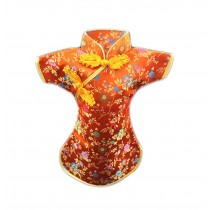 Set of 3 Chinese Crafts Red Wine Storage Bag Beer Storage Bag,Cheongsam, Orange