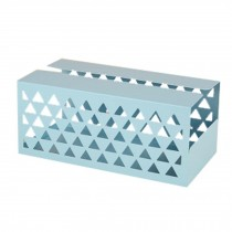 Iron Sheet Tissue Holder Geometric Hollow Tissue Box Tissue Paper Cover BLUE