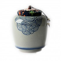 Creative Blue And White Porcelain Ceramic Tea Caddy Tea Container[E]