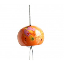 Solar Ceramic Wind Bell Maple Garden Chime ORANGE