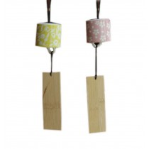 2 Packs Floral Print Ceramic Wind Bells with Wish Card Pink & Yellow
