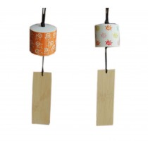 2 Packs Floral Print Ceramic Wind Bells with Wish Card Orange & White