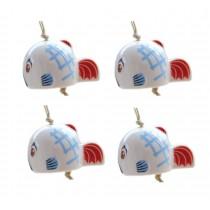 Set of 4 Cute Fish Wind Chimes Ceramic DIY Wind Bells Supplies
