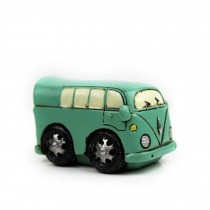 Creative Gifts Resinous Small Ornaments Vintage Bus Model(Blue 6.5cm)
