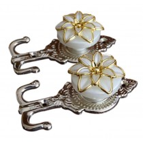 4 Pieces Curtain Flower Decorative Buckles/Holders, NO.1(14*6.5cm)