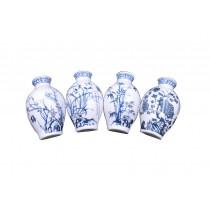 Set Of 4 Chinese Style Refrigerator Magnet Ceramics Mei Lan Zhu Ju Pattern