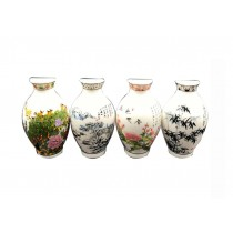 Set Of 4 Chinese Style Refrigerator Magnet Ceramics Colorful Landscape Pattern