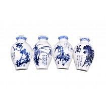 Set Of 4 Chinese Style Refrigerator Magnet Ceramics Decor Mei Lan Zhu Ju Pattern