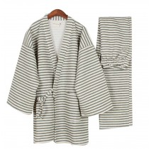 Stripe Men's Kimono Pajamas Cotton Air Layer Pajamas Suit Tracksuit Bathrobe