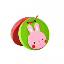Rabbit,2Pcs Funny Toys Wooden Finger Castanet For Children Education
