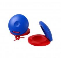 6Pcs Funny Toys Red & blue Wooden Finger Castanet For Children Education