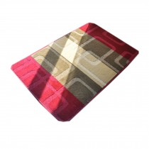 Red&Brown Striped Fuzzy Chair Mats Retro Chair Carpet, 60*90cm