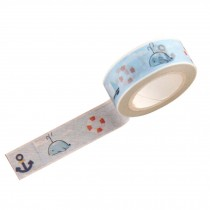 Set of 4 DIY Stationery Paper Tapes with Whale Cartoon Pattern 4.5x1.5 cm