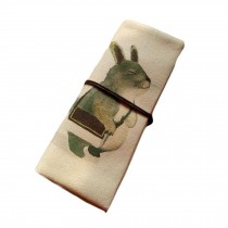 [Rabbit] Roll up Pencil Case Cosmetic Pencil Pouch Canvas Pen Case Purse Bag