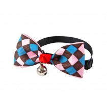 Cute Adjustable Bow Tie with Bell Pet Collar for Cats Dogs Colorful Rhombus