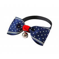 Cute Adjustable Bow Tie with Bell Pet Collar for Cats Dogs BLUE Dots