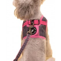 Vest Leashes - Dog Harness Leash--??L Size: Bust 46cm??Pink Bars 1