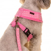 Vest Leashes - Dog Harness Leash--??L Size: Bust 46cm??Pink Dot 1