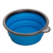 Silicone Pet Dog Foldable Food&Water Travel Bowl Dish Feeder, Blue(13*9*5cm)