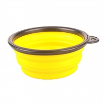 Silicone Pet Dog Foldable Food&Water Travel Bowl Dish Feeder, Yellow(13*9*5cm)