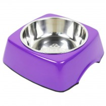 Pet Bowl Dogs/Cats Bowl with Stainless Steel Eating Surface Purple, Medium