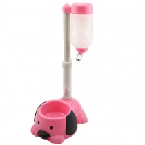 Pet kitten Puppy Adjustable Height Water Dispenser,Dog Water Bottle,PINK