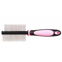 Double-side Grooming Comb for Dogs Cats Pet Flea Combs PINK