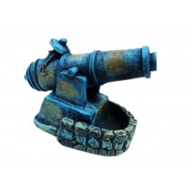 Blue Cannon Resin Aquarium Ornament, 9x11x6cm