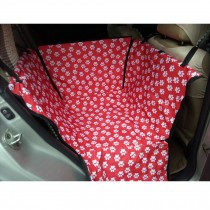 Waterproof Oxford Pet Car Seat Cover Dog Mat for Rear Single Seat, Red Footprint