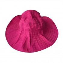 Reversible Beach Hat Women's Fashion Wide Brim Hat Packable Summer Cap Rose Red