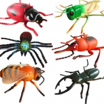 Durable Large Artificial Insect Figurines Toy Halloween Joke Trick Kids Educational Model, 6 Pcs