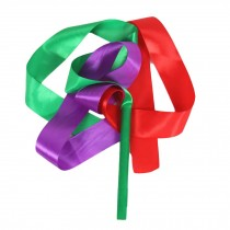 2 Pcs Dance Ribbon Dancing Props Kids Dance Streamers/ Green&Red&Purple