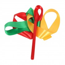 2 Pcs Dance Ribbon Dancing Props Kids Dance Streamers / Green&Red&Yellow