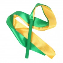 2 Pcs Kids Gymnastics Dance Ribbon Dancing Prop Dance Streamers / Green & Yellow