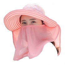 Women Outdoor Summer Sun Flap Cap Hat Neck Cover Face UV Protection Hat Free Size (Pink)