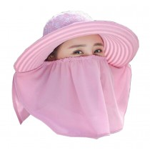 Women Outdoor Summer Sun Flap Cap Hat Neck Cover Face UV Protection Hat Free Size (Light Purple)
