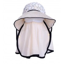 Women Outdoor Summer Sun Flap Cap Hat Neck Cover Face UV Protection Hat Free Size (Beige)