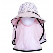 Women Outdoor Summer Sun Flap Cap Hat Neck Cover Face UV Protection Hat Free Size (Pink#01)