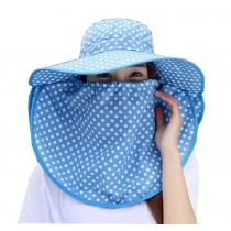 Women Outdoor Summer Sun Flap Cap Hat Neck Cover Face UV Protection Hat Free Size (Blue)