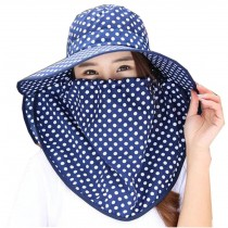 Women Outdoor Summer Sun Flap Cap Hat Neck Cover Face UV Protection Hat Free Size (Navy)