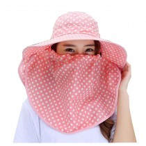 Women Outdoor Summer Sun Flap Cap Hat Neck Cover Face UV Protection Hat Free Size (Pink#02)