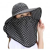 Women Outdoor Summer Sun Flap Cap Hat Neck Cover Face UV Protection Hat Free Size (Black)