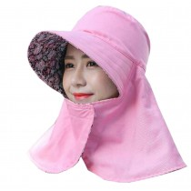 Women Outdoor Summer Sun Flap Cap Hat Neck Cover Face UV Protection Hat Free Size (Foldable#04)