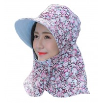 Women Outdoor Summer Sun Flap Cap Hat Neck Cover Face UV Protection Hat Free Size (Foldable#06)