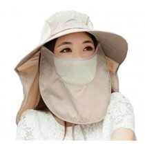 Women Outdoor Summer Cap Face Anti-UV Hat Neck Protection Cover Free Size (Breathable#02)