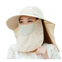 Women Outdoor Summer Cap Face Anti-UV Hat Neck Protection Cover Free Size (Breathable#03)